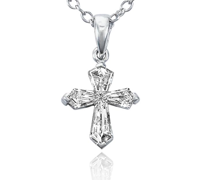 Diamond Cross Pendant in 18k White Gold (1/2 ct. tw.)