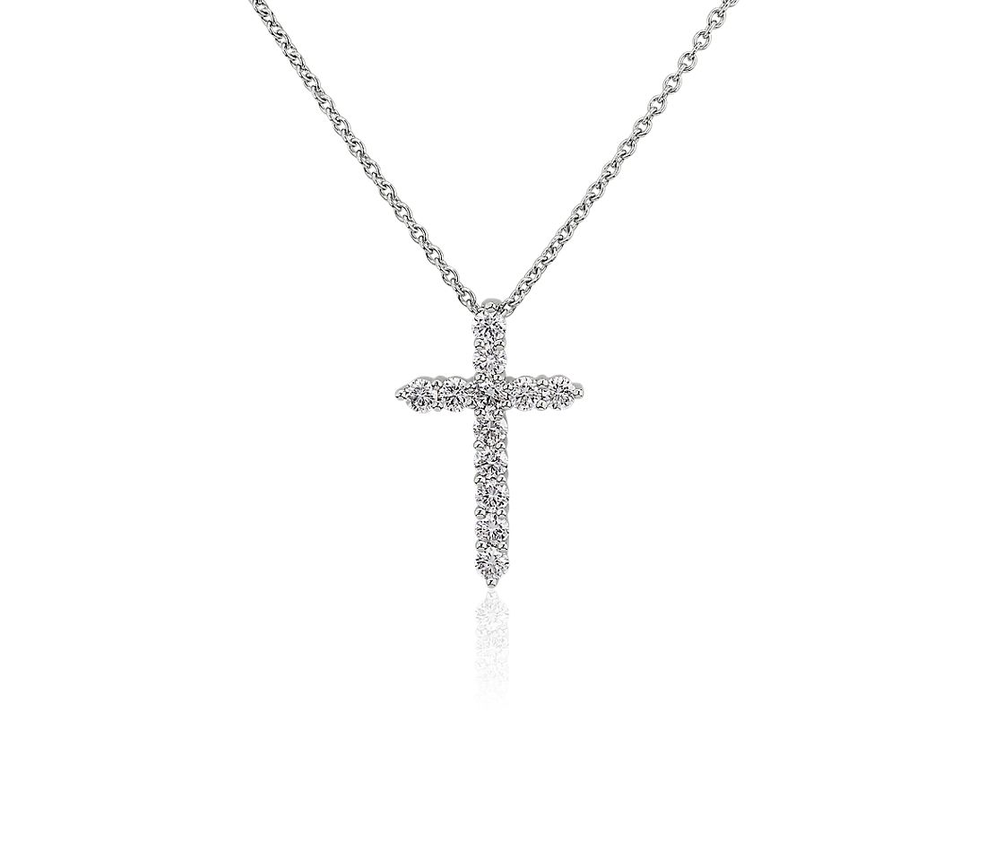 Diamond Cross Pendant Necklace in 14k White Gold (3/8 ctw)