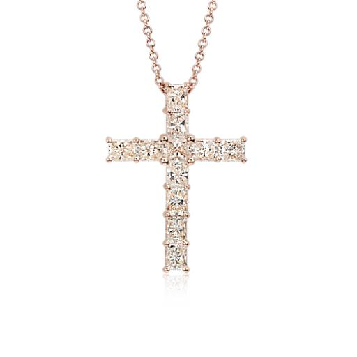 Radiant cut diamond cross pendant in 18k rose gold 3 12 ct tw radiant cut diamond cross pendant in 18k rose gold 3 12 ct tw blue nile aloadofball Image collections