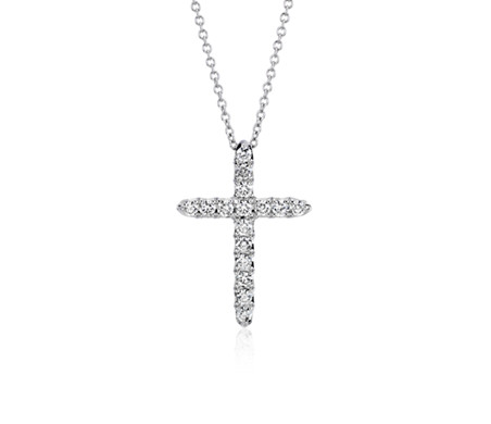 Blue Nile Petite Diamond Cross Pendant in 14k Rose Gold (1/10 ct. tw.) w2otgwy