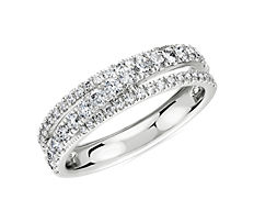 NEW Diamond Crossover Ring in 14k White Gold (0.64 ct. tw.)