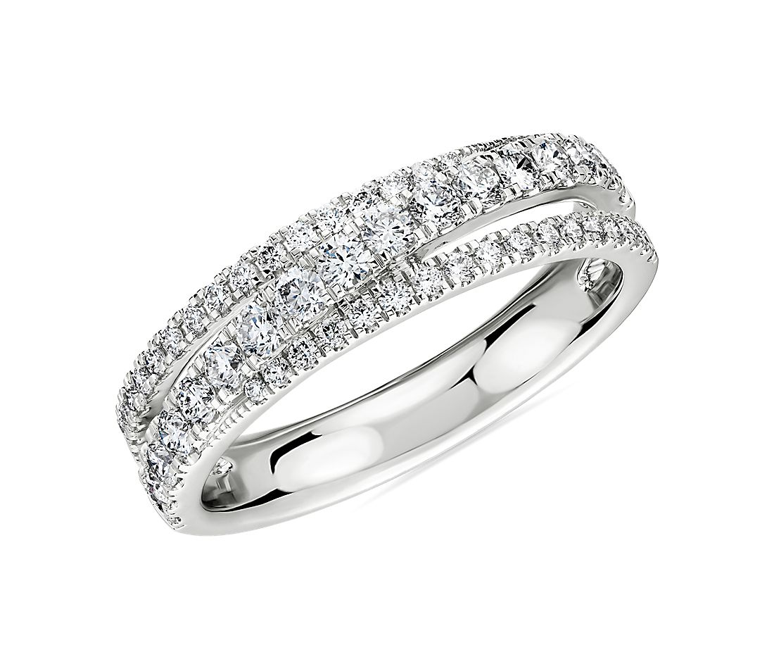 Diamond Crossover Ring in 14k White Gold (0.64 ct. tw.)