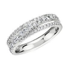 新款 14k 白金镶钻十字交叉戒指- H/SI2 (1/2 克拉总重量)