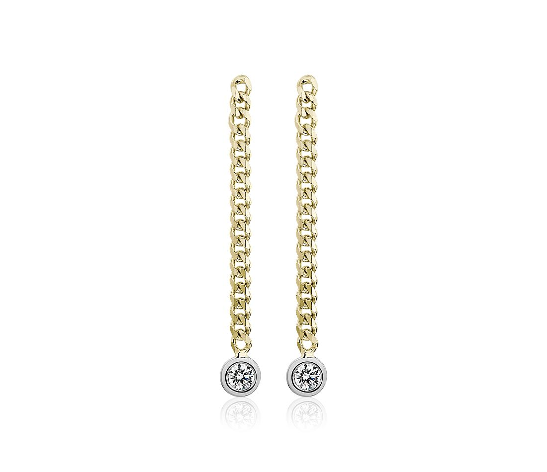 Diamond Curb Link Drop Earrings in 14k Yellow Gold (1/5 ct. tw.)