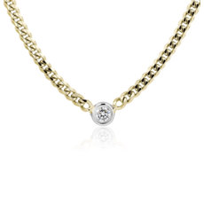 NEW Diamond Curb Link Necklace in 14k Yellow Gold (.10 ct. tw.)