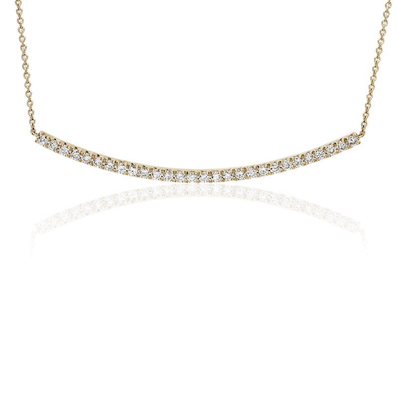 Delicate Curved Diamond Bar Necklace in 14k Yellow Gold (3/8 ct.