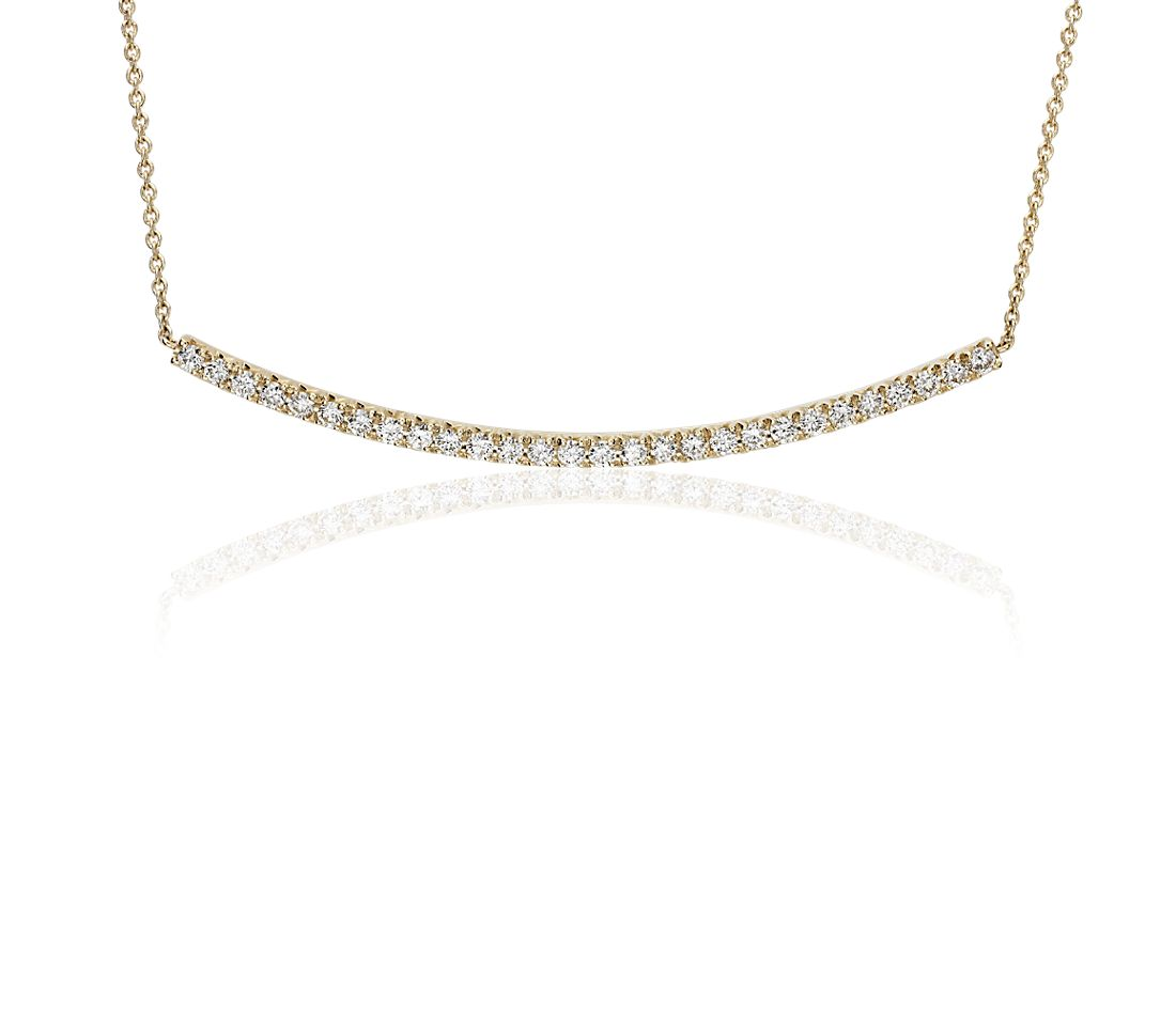 Delicate Curved Diamond Bar Necklace in 14k Yellow Gold (3/8 ct. tw.)