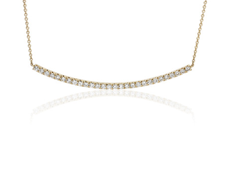 Diamond Delicate Curved Bar Necklace in 14k Yellow Gold