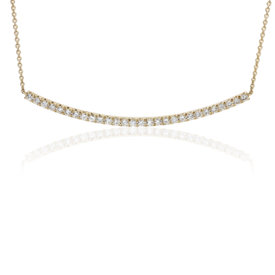NEW Diamond Delicate Curved Bar Necklace in 14k Yellow Gold