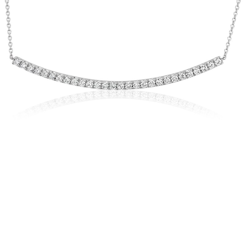 Diamond Delicate Curved Bar Necklace in 14k White Gold (3/8 ct. t