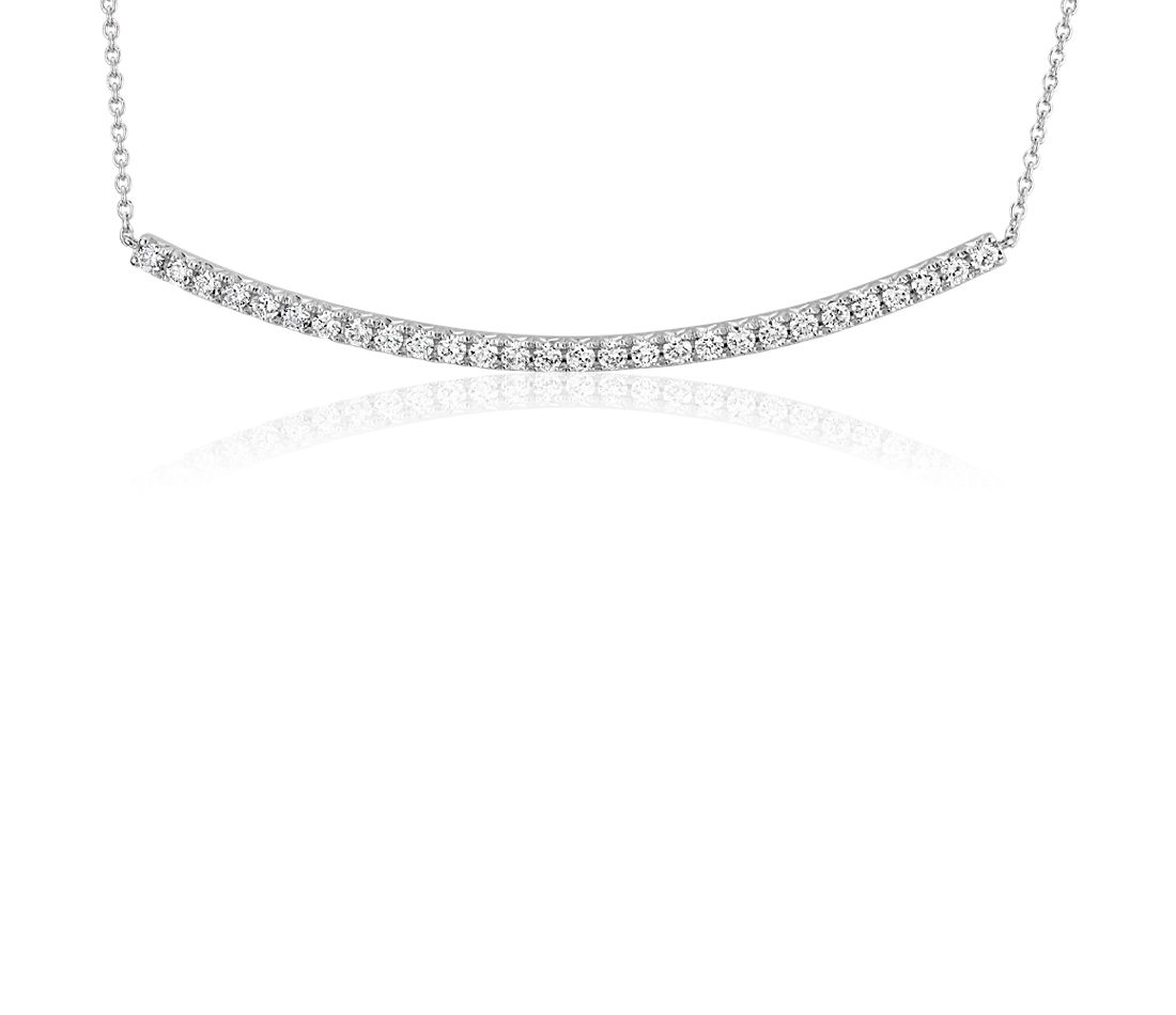 Diamond Delicate Curved Bar Necklace in 14k White Gold