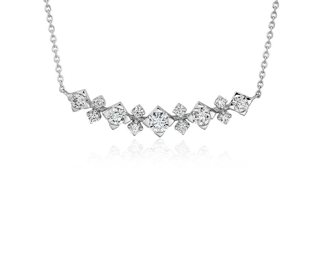 diamond smile curved bar necklace in 14k white gold 12