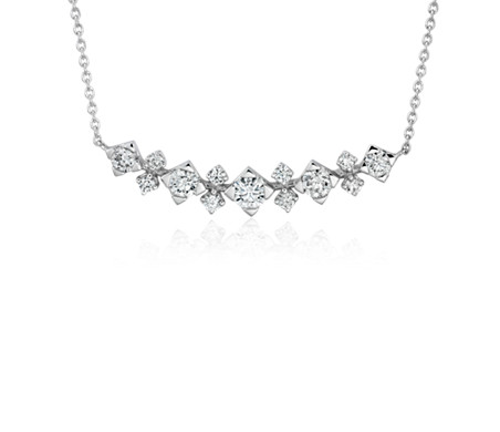 Diamond Smile Curved Bar Necklace in 14k White Gold (1/2 ct. tw.)