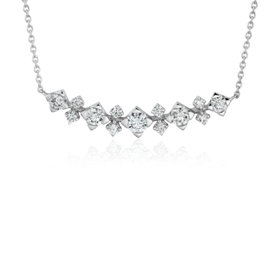 NEW Diamond Smile Curved Bar Necklace in 14k White Gold (1/2 ct. tw.)