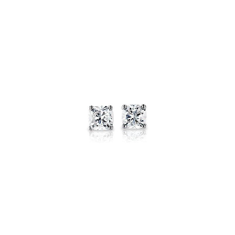 Cushion Cut Diamond Stud Earrings in 18k White Gold (1 ct. tw.)