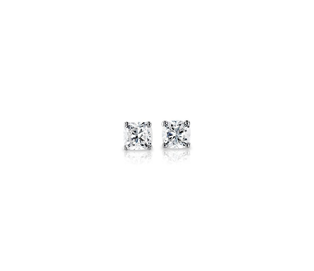 Cushion Cut Diamond Stud Earrings In 18k White Gold 1 Ct Tw