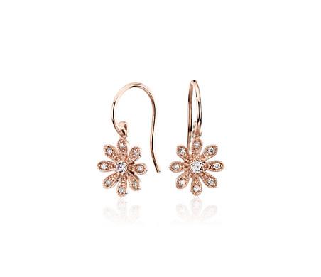 Blue Nile Studio Diamond Daisy Flower Drop Earrings in 14k Rose Gold