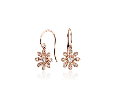 Blue Nile Studio Diamond Daisy Flower Drop Earrings in 14k Rose Gold