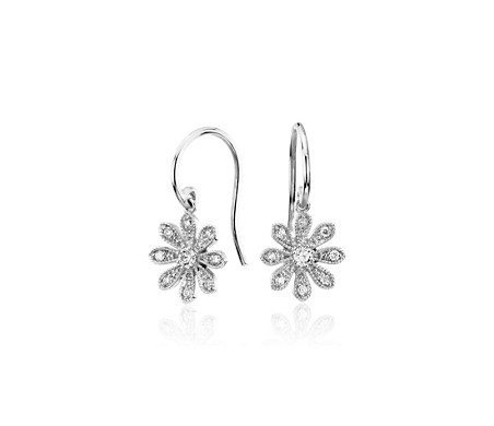 Blue Nile Studio Diamond Daisy Flower Drop Earrings In 14k White Gold