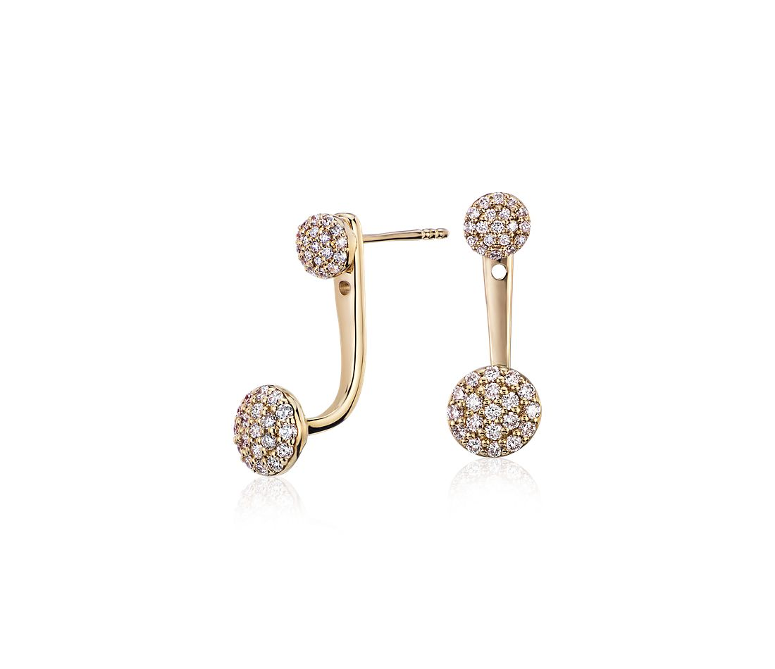 Diamond Disc Ear Jacket In 14k Yellow Gold 1 3 Ct Tw