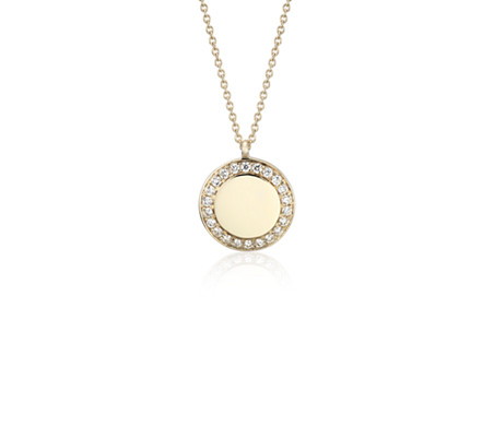 Diamond Disc Pendant in 14k Yellow Gold
