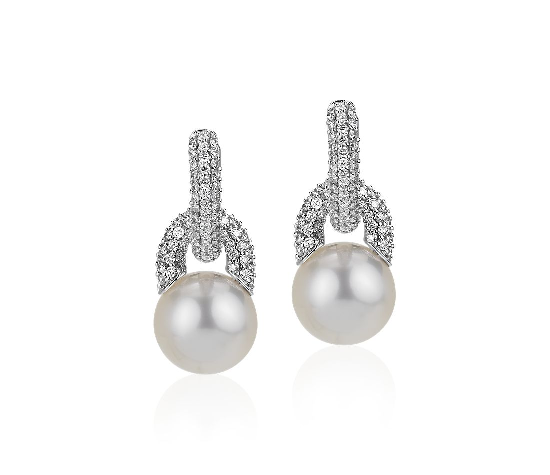 Diamond Door Knocker Earrings with South Sea Cultured Pearls in 18k White Gold (9.5-10mm)