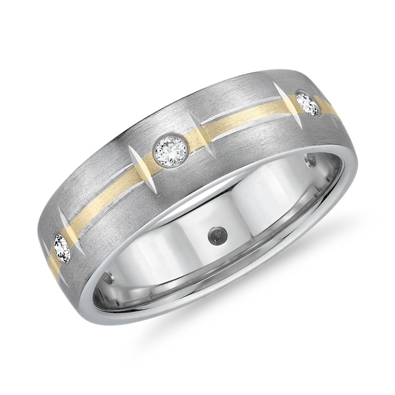 Two-Tone Diamond Station Eternity Wedding Ring in 14k White and Y