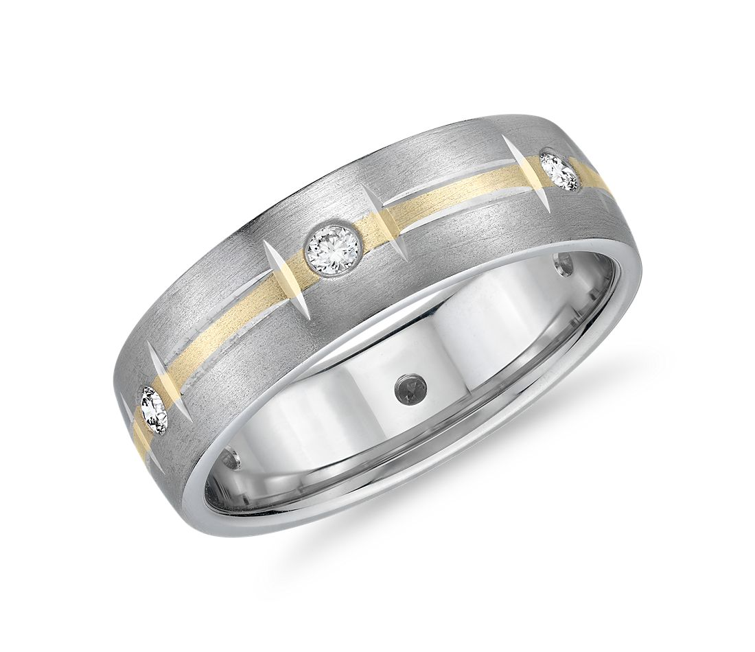 Two-Tone Diamond Station Eternity Wedding Ring in 14k White and Yellow Gold (6.5mm)