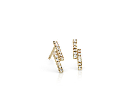 Blue Nile Mini Diamond Bar Stud Earrings in 14k White Gold