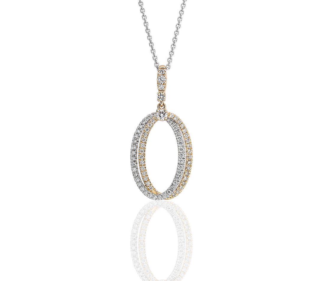 Diamond Double Oval Pendant in 14k White and Yellow Gold (1/2 ct. tw.)