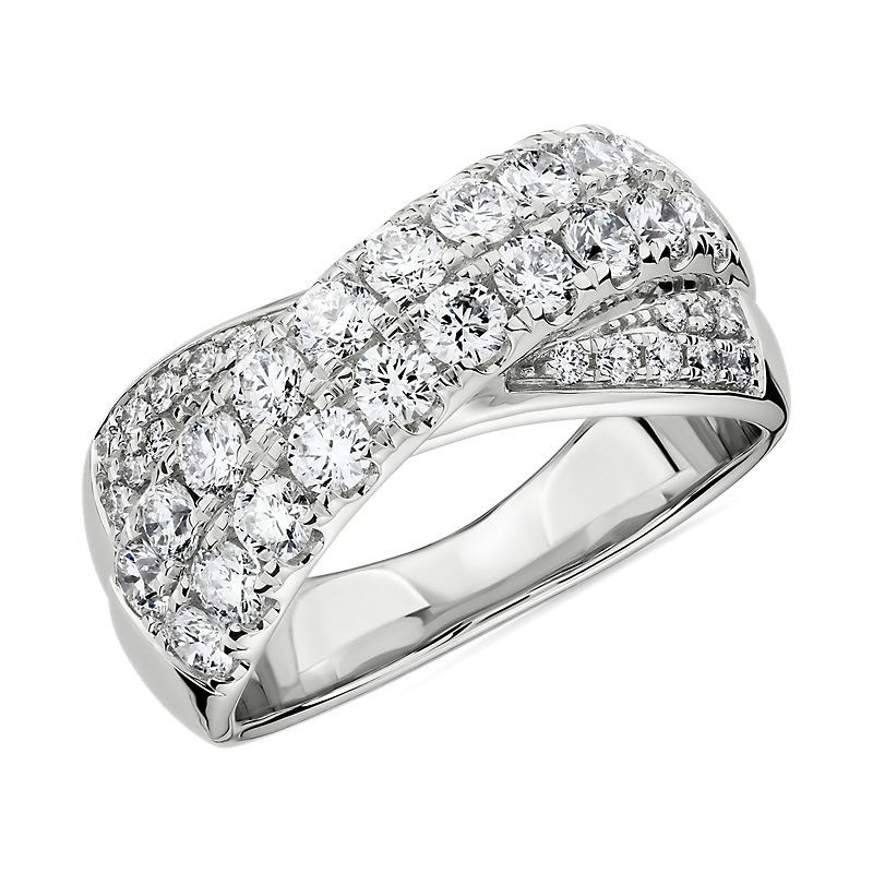 Diamond Double Row Crossover Ring in 14k White Gold (1 1/4 ct. tw