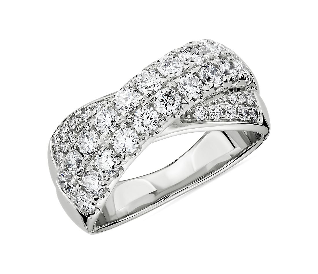 Diamond Double Row Crossover Ring in 14k White Gold (1.27 ct. tw.)
