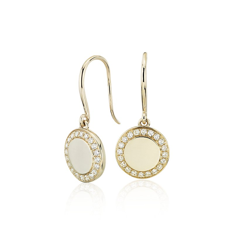 Diamond Drop Disc Earrings in 14k Yellow Gold (1/4 ct. tw.)