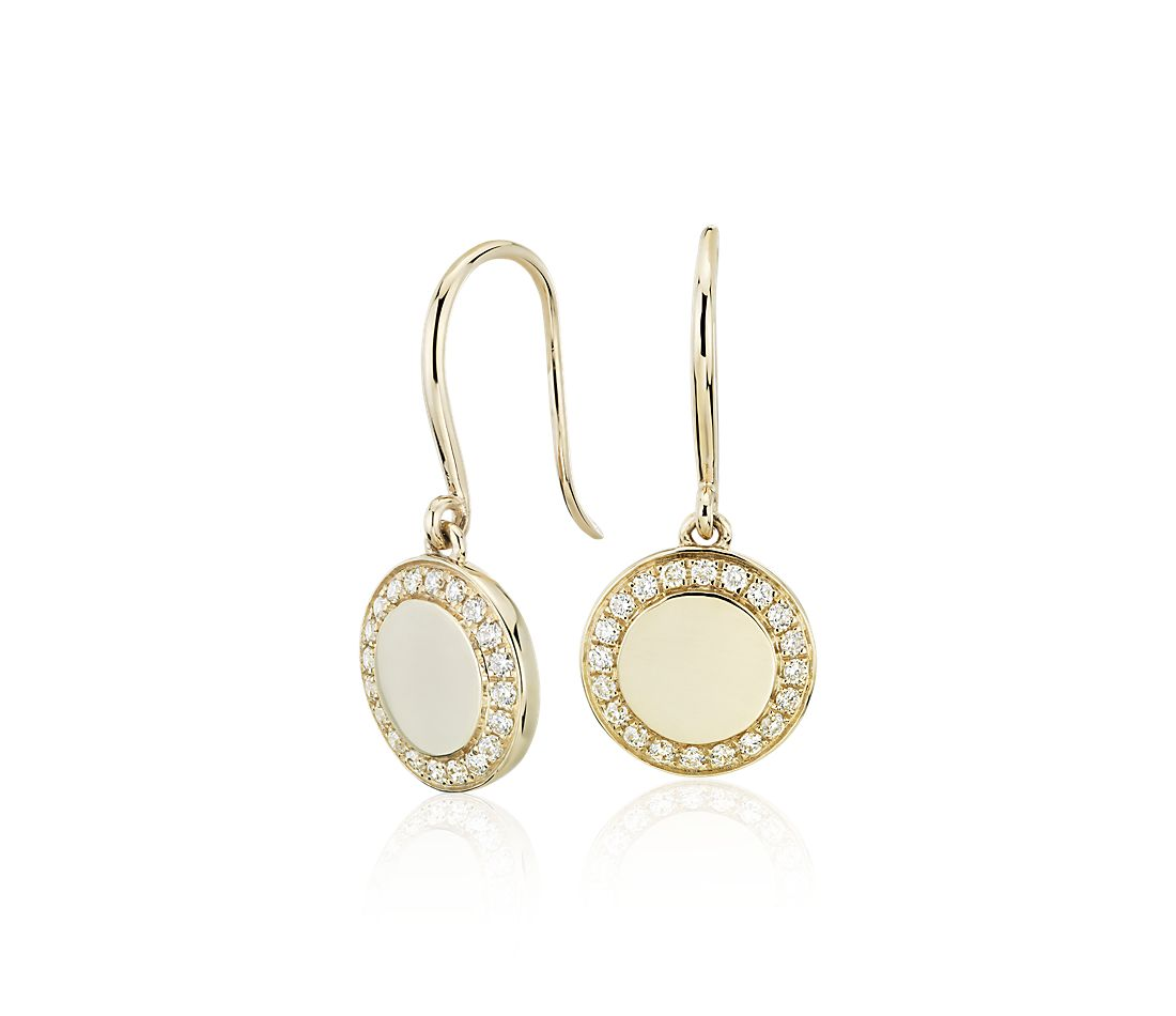 Diamond Drop Disc Earrings In 14k Yellow Gold 1 4 Ct Tw