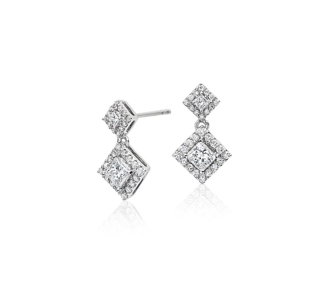 Diamond Princess Halo Drop Earrings in 14k White Gold (3/4 ct. tw.)