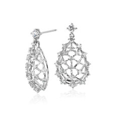Blue Nile Studio Galaxy Diamond Drop Earrings in 18k White Gold (1.4 ct. tw.)