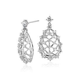 Aretes colgantes de diamantes Galaxy de Studio de Blue Nile en oro blanco de 18 k (1,4 qt. total)