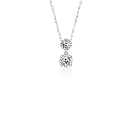 Diamond Drop Pendant in 14k White Gold (1/3 ct. tw.)