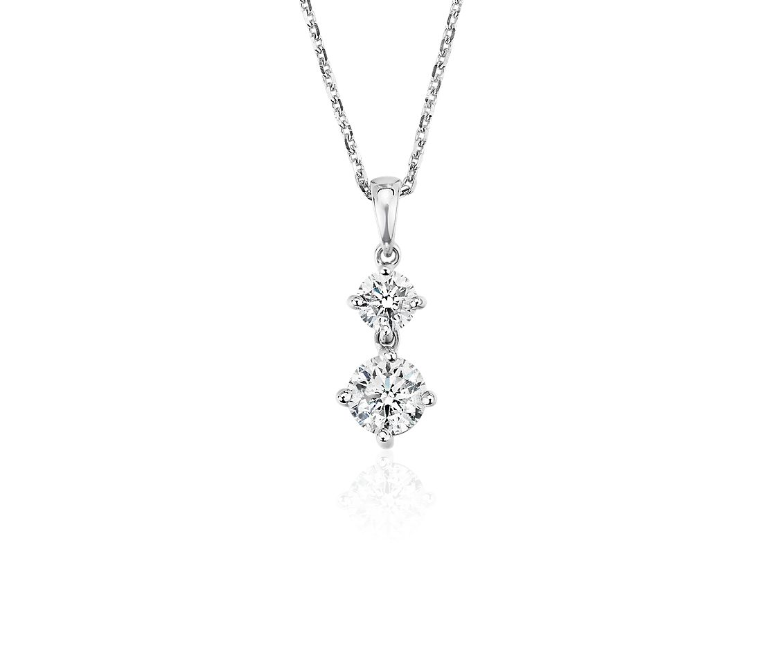 Diamond Two-Stone Drop Pendant in 14k White Gold (.95 ct. tw.)