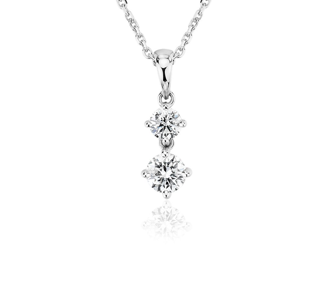 Diamond Two-Stone Drop Pendant in 14k White Gold