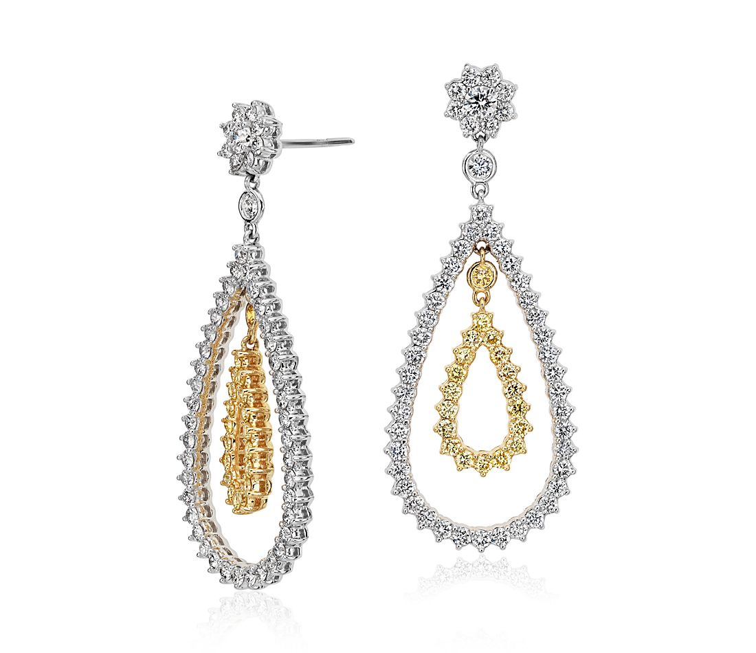 Pear Shape Diamond Dangle Earrings In 18k White And Yellow