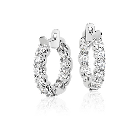 Blue Nile Signature Diamond Eternity Hoop Earrings in Platinum (3.5 ct. tw.)