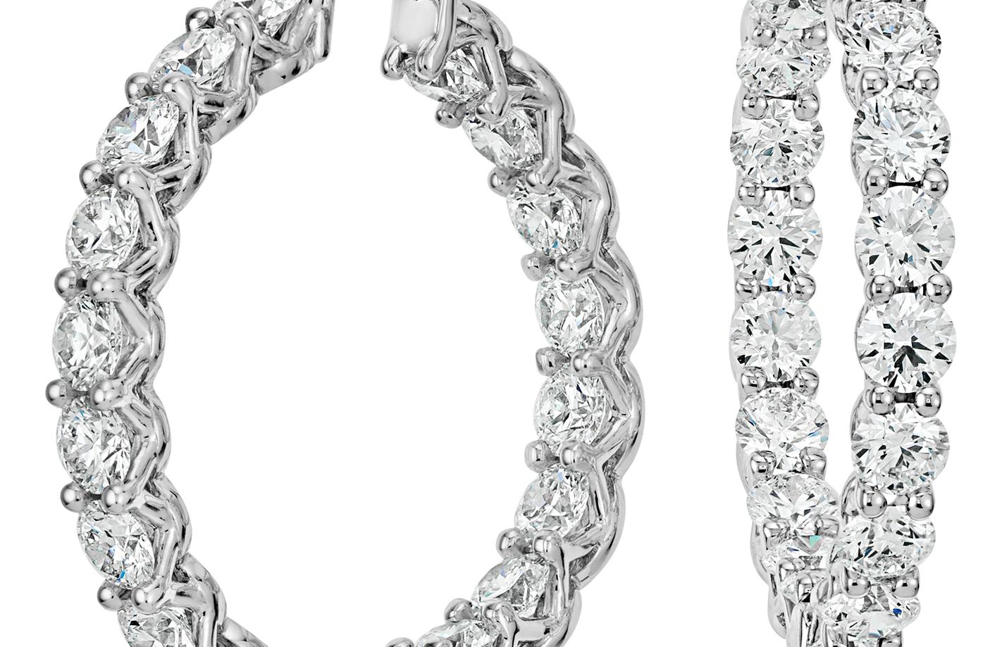 Aretes tipo argolla de eternidad de diamantes exclusivo de Blue Nile en platino (6 qt. total)