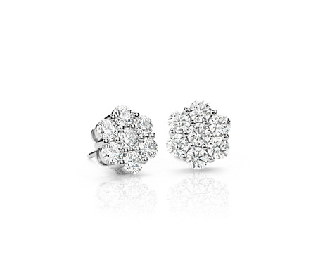 Blue Nile Signature Diamond Fl Earrings In Platinum