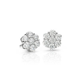 NEW Blue Nile Signature Diamond Floral Earrings in Platinum