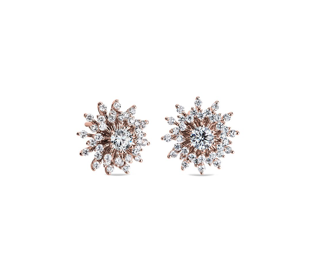 Sunburst Diamond Stud Earrings In 14k Rose Gold 1 Ct Tw