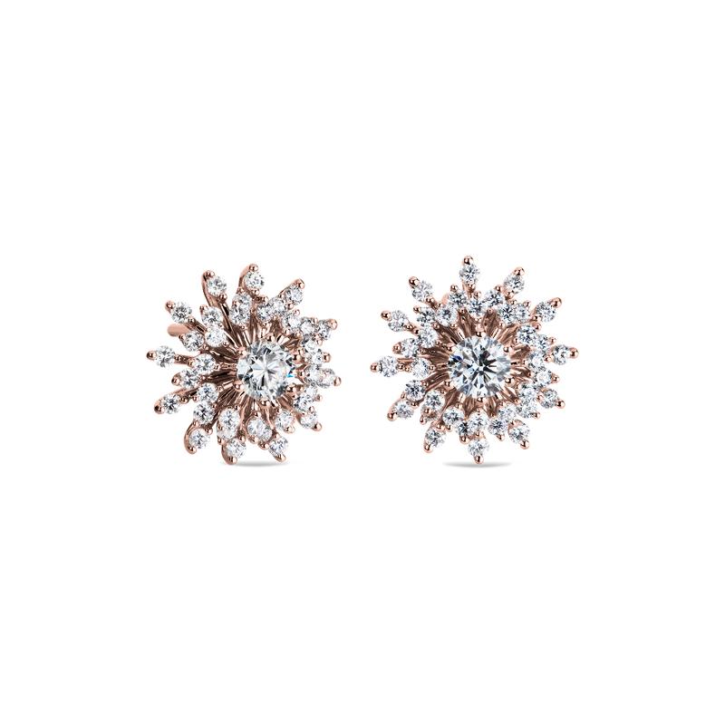 Sunburst Diamond Stud Earrings in 14k Rose Gold (1 ct. tw.)