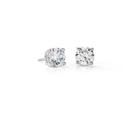Diamond Earrings In 14k White Gold 3 Ct Tw
