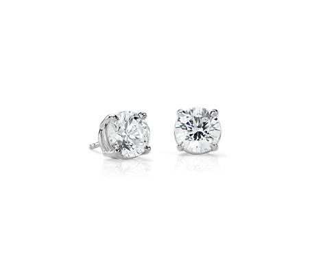 Aretes de diamantes en oro blanco de 14 k (4 qt. total)