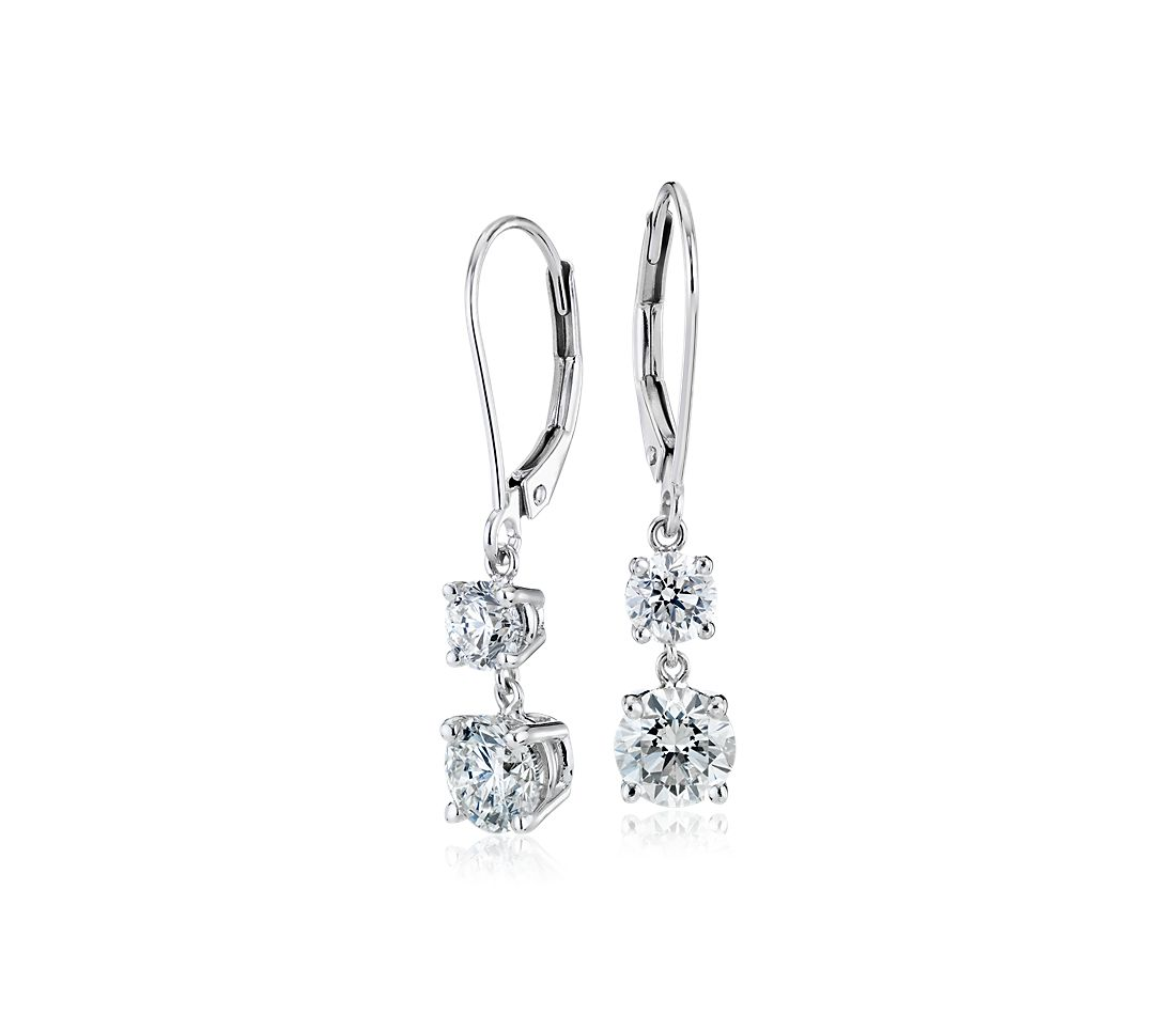 Diamond Two Stone Drop Earrings In 14k White Gold 2 Ct Tw
